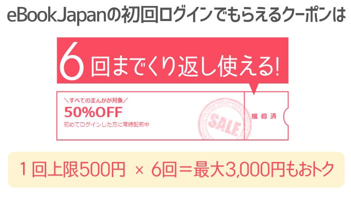 イーブックジャパンの初回クーポンは6回使える!