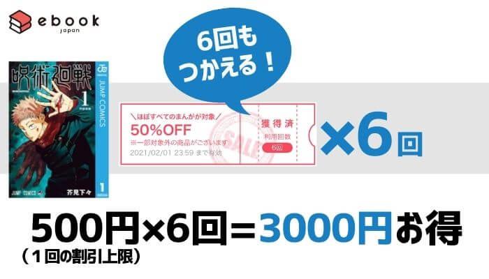 呪術廻戦┃eBookjapanのクーポンで3,000円お得に購入できる